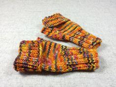 Armstulpen, fingerlose Handschuhe, Kleinkind, orange grau, Klappbund, handgestrickt, Merino Schurwolle, Handstulpen von frostpfoetchen auf Etsy