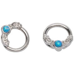 Hot Topic Blue Opal Filigree Captive Hoop 2 Pack ($9.37) ❤ liked on Polyvore featuring jewelry, earrings, multi, opal jewellery, hoop earrings, filigree jewelry, opal earrings and filigree earrings