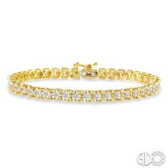 Enjoy a classy feminine look with this captivating Diamond Tennis Bracelet. This slender wristlet glistens brightly with 43 alluring single cut diamonds, beautifully prong set and rendered to perfection on 10 karat gleaming yellow gold. This pretty bracelet fastens with a secure clasp. Total diamond weight is 1/4 ctw. #swansondiamondcenter #tennisbracelet #yellowgold #classy