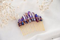 Purple crystal hair comb, Raw crystal hair comb, Purple hair accessory, Mermaid hair comb, Aura crystal hair comb, Wedding hair comb,for her by TheArcaneBoutique on Etsy