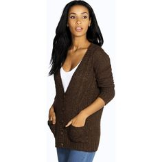 Boohoo Rebecca Cable Knit Pocket Cardigan ($26) ❤ liked on Polyvore featuring tops, cardigans, chocolate, chocolate brown cardigan, chunky cable knit cardigan, layered crop top, crop top and pocket tops