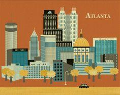 Atlanta, Georgia -  Retro Southern Skyline Prints for BourbonandBoots.com