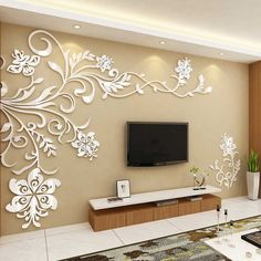 Cheap room decoration, Buy Quality acrylic wall sticker directly from China wall sticker Suppliers: Acrylic wall stickers Wonderful TV Background Decoration Flowers Acrylic Wall Sticker Best Home Decor living room decoration Wall Stickers Vines, Wall Decals, Decals For Walls, 3d Wall, Wall Mural, Vinyl Decals, Tv Wall Decor, Wall Stickers Home Decor, Living Room Wall Stickers