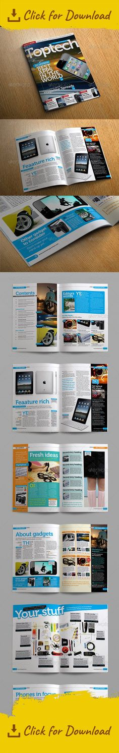 Review Magazine InDesign template A4. This template was designed with a reviews and gadget magazine look and feel in mind. But can easily be adapted for use as a standard modern magazine design. The template offers a huge selection of high quality page layouts, making this template extremely flexible. You can easily slot together different aspects of layouts to create your own page spreads to add to extensive set supplied. The clean and modern design is easy to use and is completely print…