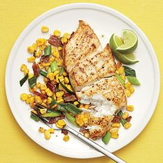 Halibut with Bacony Corn Sauté - takes 20 min (can replace bacon with red pepper or black beans. Can replace halibut with tilapia or swordfish easily)