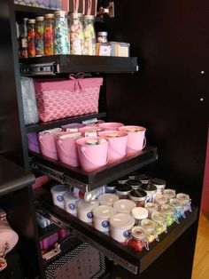 Fantastic use of pull out shelves inside a cabinet with storage containers of your choosing to store all your scrapping and crafting goodies.