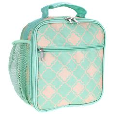 Monogram coral and mint quatrefoil   Lunch box/Personalize lunch box/lunch box/lunch bag/lunch tote by sewsassybootique on Etsy