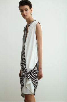 Sharon Wauchob White and black + white stripe dress