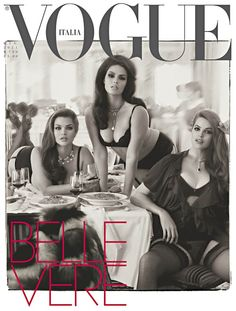 Tara Lynn, Candice Huffine, and Robyn Lawley on the cover of Vogue Italia.