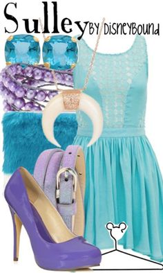 """""""Sulley"""" ~ Who said big fluffy monsters couldn't be fashionable? From Disney's Classic """"Monsters, Inc."""" steps out this spring-inspired outfit characterized by Boo's favorite """"kitty."""" Designed by Leslie Kay or also known as the designer of Disneybound outfits. Can be found on Polyvore or her personal shop or tumblr account."""
