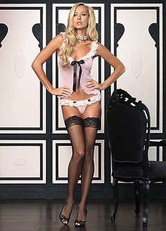 Leg Avenue 2 Piece Babydoll Set - Seductive mesh babydoll with contrast satin ribbon tie plus a matching thong with lace ruffle trim. One size fits dress sizes 6 to 12. £45.