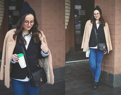 Get this look: http://lb.nu/look/8054348  More looks by Ann Kos: http://lb.nu/user/1716611-Ann-K  Items in this look:  Choies Coat, Dressin Jacket, Style Moi Jeans, Sammydress Bag, Cndirect Glasses   #casual #street