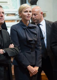 Princess Charlene in Dior as she accompanied Prince Albert II on their visit to Corsica - May 2013