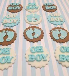 Boy Baby Shower Fondant Cupcake toppersOh Boy by PartySweetness, $20.00