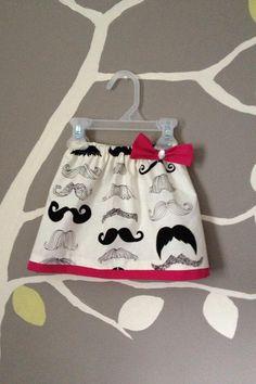 Girls Mustache Skirt pink Mustache Party baby by ThreadsByAmber, $20.00