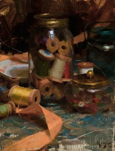 """Daniel Keys, artist, """"Jar of Threads"""", oil, 12x9"""