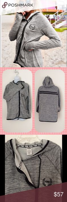 Victoria's Secret PINK Hi/Lo Jacket Size Large.  Slight Hi/Lo cut.  Hooded.  Gray black and white.  Zipper is asymmetrical and works well.  Inner button for half-zip as shown in pic 3.  Great used condition.  Purchased this year and only worn a few times. PINK Victoria's Secret Jackets & Coats