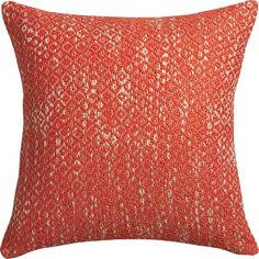 hidden geometry.  Handwoven micro diamonds show subtle graphic texture in super-soft red/orange cotton.  Natural color peeks through, creating a variegated two-tone palette.  Reverses to solid natural cotton with linen look.  Do the math: CB2 low prices include a pillow insert in your choice of plush feather-down or lofty down-alternative (a rare thing indeed).