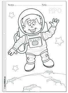 Pipo astronauta - Colorea a Pipo en el espacio - Semana Mundial del Espacio Más