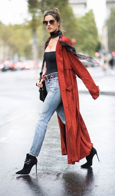 Alessandra Ambrosio in Trussardi and Are You Am I out in Paris. #bestdressed