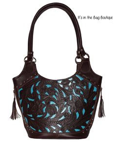 Concealed Carry Leather Inlaid Bucket Purse by Ropin West