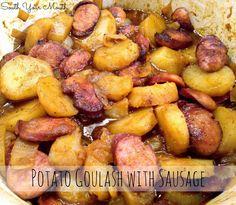Hungarian goulash with potatoes and smoked sausage.