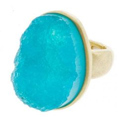 Gold Turquoise Druzy Ring