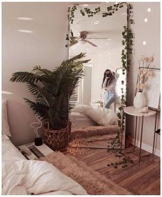 room makeover aesthetic room decor for a cozy bedroom can be for kids rooms or teen girls bedrooms Bedroom Corner, Master Bedroom, Master Suite, Bedroom Mirrors, Bedroom Brown, Comfy Bedroom, Boho Teen Bedroom, Hippy Bedroom, Men Bedroom
