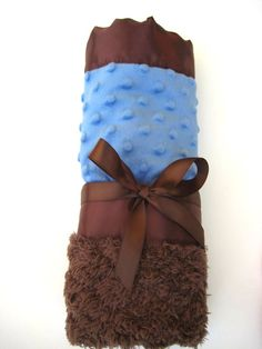 Infant Cuddle Blanket  Cobalt Blue and Chocolate by TooTooKute, $16.00