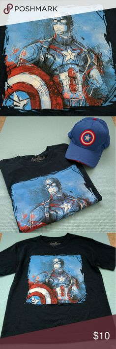 Captain America Sketch Tee #TeamCap  Show your Captain America praise by wearing this Marcel Avengers navy tee.   It says SM for small but the size runs like a Juniors XS.   The baseball hat shown in the outfit photo is also for sale in my  closet! Marvel Tops Tees - Short Sleeve