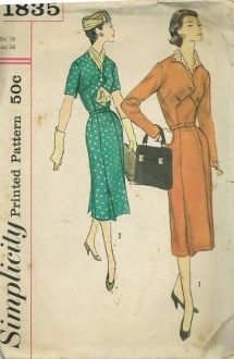 An original ca. 1950's Simplicity Pattern 1835.  Misses' and women's one-piece dress with detachable collar. Slim-line dress with V neckline and inset at bodice front. Pointed ends of bodice lap right over left and fasten at center front. Slim skirt has 4 low placed pleats. View 1 dress has long sleeves with zipper or snap openings; 3 button fastening at bodice front; contrasting detachable pointed collar. View 2 has short sleeves and 1 button fastening at bodice front.