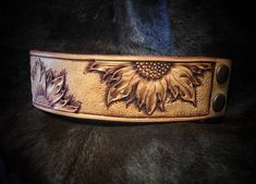 Made To Order Beautiful Custom Hand Tooled Leather Sunflower Cuff Bracelet Made To Order - Silver Wings Custom Leather Custom Leather Belts, Leather Cuffs, Leather Tooling, Leather Jewelry, Tooled Leather, Handmade Leather, Leather Working Patterns, Leather Carving, Leather Engraving