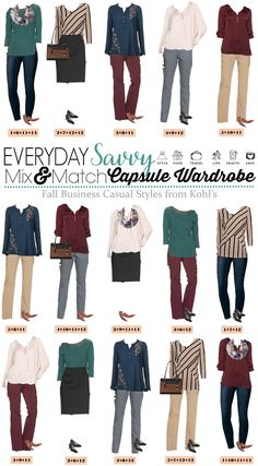 Here is a Business Casual Capsule Wardrobe for Fall with items from Kohls. These pieces mix and match for 15 great outfits for the office that will have you looking great this fall. via @everydaysavvy