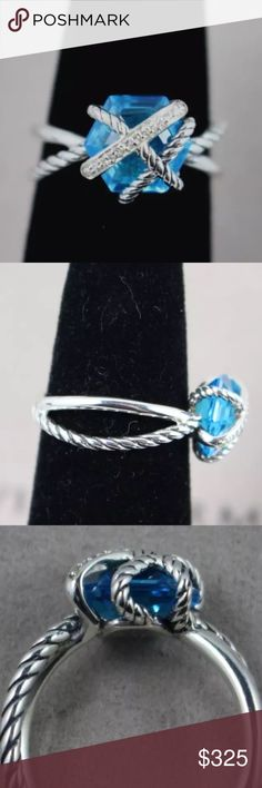 David Yurman cable wrap topaz blue with pouch Size 6.5 and ready to be a great gift under the tree!  DY hallmark 925 and pouch included David Yurman Jewelry Rings