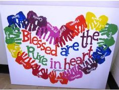 "ECA 3 YR OLD Classes - ""Pure at Heart"" Hand Print Heart Canvas - Online Fundraising Auction - BiddingForGood"