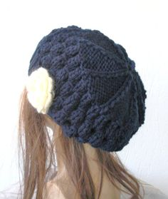 Winter Hand Knit Hat Beehive beret in Navy Blue by Ebruk 1589d39daf17