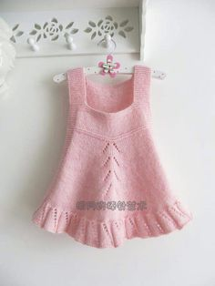 24 new Ideas for crochet baby outfits girl pink Girls Knitted Dress, Knit Baby Dress, Knitted Baby Clothes, Baby Cardigan, Knitting For Kids, Baby Knitting Patterns, Lace Knitting, Knitting Designs, Crochet Patterns