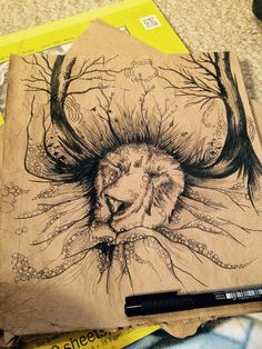 Lion Surrealist illustration by Michelle Roth. Drawing in pen and ink