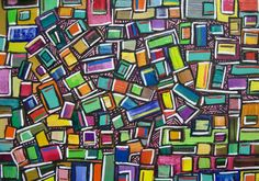 Primary Colors Abstract Painting Original by Davs on Etsy, $30.00