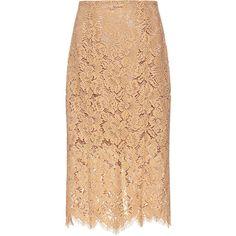 Ganni - Jerome Floral Lace Midi Skirt (12.690 RUB) ❤ liked on Polyvore featuring skirts, midi skirt, floral lace skirt, floral skirt, beige lace skirt and floral printed skirt