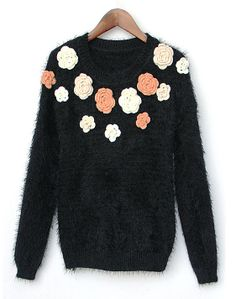Black Long Sleeve Applique Fluffy Knit Sweater US$36.07