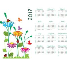 2017 beautiful flowers calendar - free vector download for commercial use Download free vector graphics images | cgvector