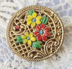 Vintage Button. Metal Twinkle Button with by ButtonBroker on Etsy