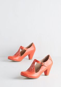 Picture of Poetic Heel in Tangerine. Always poised and mild-mannered, you look especially proper in these T-strap cone heels by Chelsea Crew! #orange #modcloth