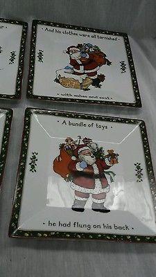 Very nice Portmeirion studio by Susan Winget Christmas stories 4 square plates