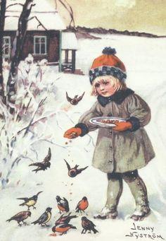 Jenny Nyström: Tyttö syöttää lintuja -