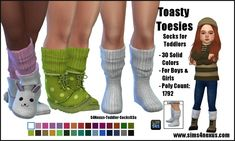 Toasty Toesies socks by SamanthaGump at Sims 4 Nexus Sims 4 Toddler Clothes, Sims 4 Cc Kids Clothing, Sims 4 Mods Clothes, Sims Mods, Toddler Outfits, Sims 4 Cas, Sims Cc, Die Sims 4 Pc, The Sims 4 Bebes