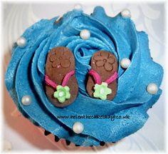 Hawaiian cupcake flip flops