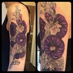 hollyhock tattoo | added some color to rachel s # hollyhock # tattoo today next session ...