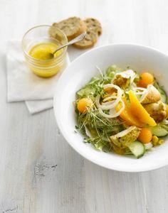 Salade de melon, concombre, orange et poulet - Régal